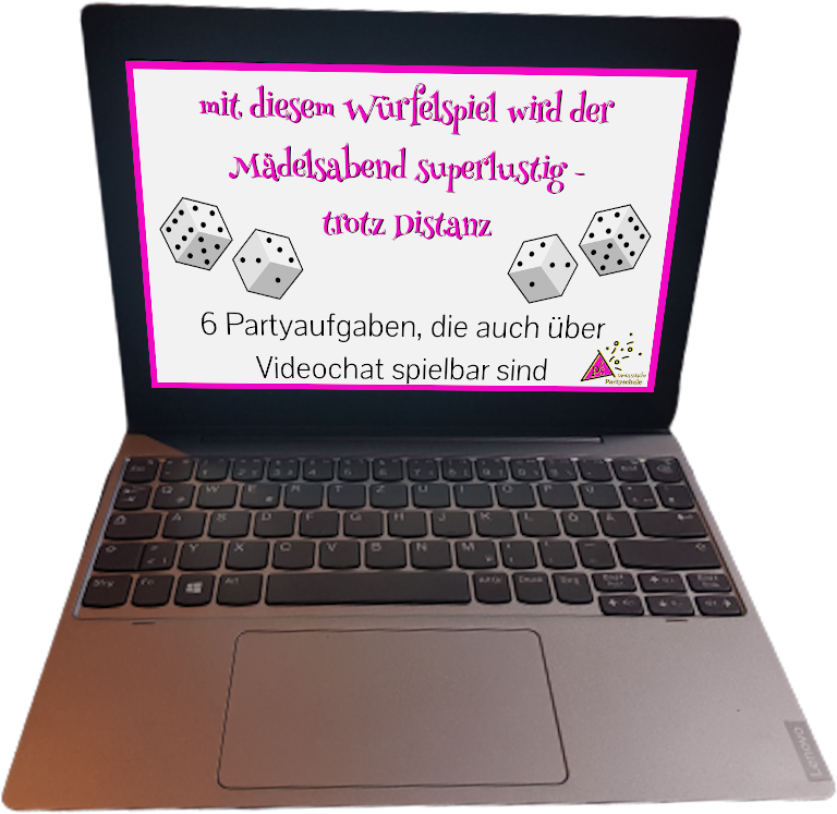 geöffneter-Laptop-mit-Cover-des-Würfelspiels-am-Display
